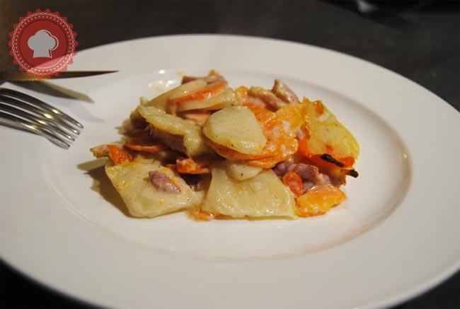 recette facile de gratin de carottes, pommes de terre et lardons